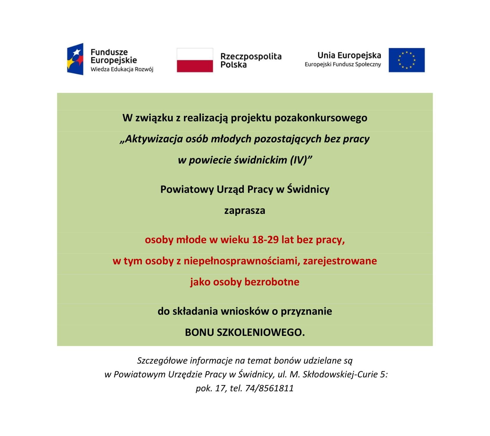 Ogłoszenie bon szkoleniowy PO WER